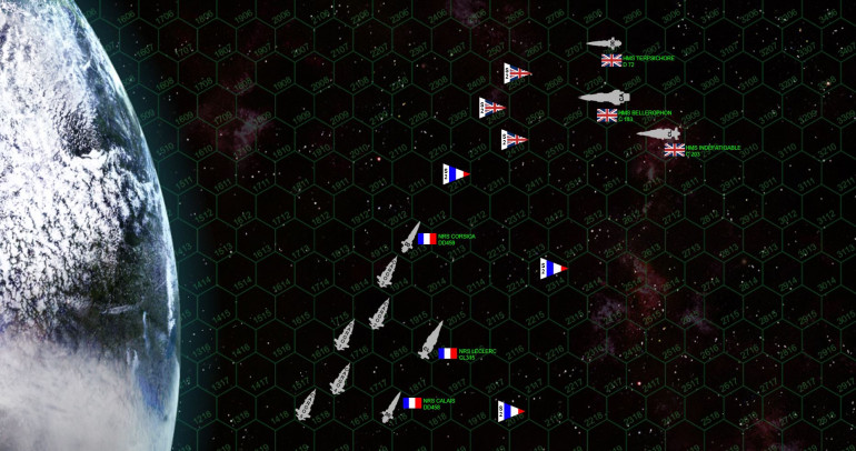 "The French have an convoy of five automated drone cargo ships, entering on the bottom half of the table.  Movement on these are 7 hexes a turn, they automatically ""lose initiative"" and must move first every turn, they make one hex-side facing change per turn, have 3 in shields on all facings, and 10 damage points.  The French get 20 points for every one of these that successfully get off the top end of the map sheet.  The British get 20 points for every ship they destroy.   // Terrestrial gravity rules.  One hex of gravitational drift toward the planet is assessed against any non-aerospace ship (including cargo ships) that end their movement within 10 hexes of the planet's outer rim.  Any encounter with a hex that is even partially covered by the planet graphic results in immediate and total destruction of the ship.  //  Scoring in this scenario is RAID-based, i.e., players get points for enemy warships destroyed / crippled / driven off … NOT remaining ships on the table at the end of the game.  To claim a victory, players need to score at least 40% their opponent's beginning total, and must score at least 5% more than their opponent.   In this case, both sides have 244 points on the table, so that 40% threshold is 98 points.  This is rarely an issue, it's just to keep players from ""peeking"" onto a corner of the table, releasing a hail or torpedoes, and vanishing with minimal damage inflicted, yet claiming a victory without ever really engaging in battle."