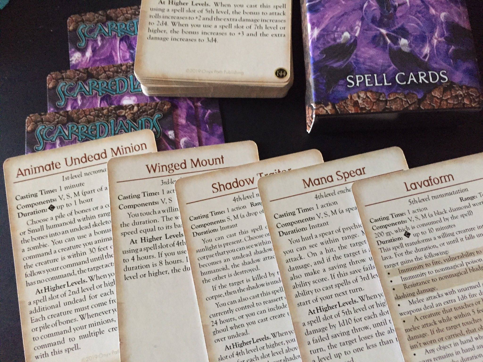 Wield The Magic Of Scarred Lands With Onyx Path's 5E Spell Cards