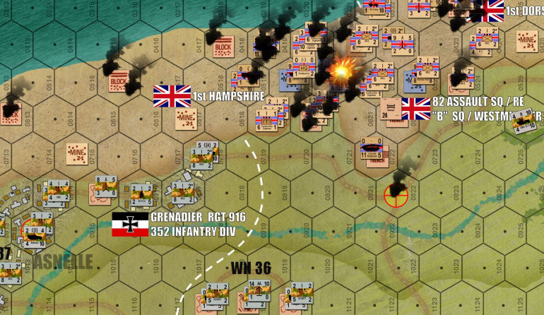 Even amidst this carnage, the Churchill Bridgelayer and other engineers units clear mines, and lay bridges over German antitank ditches.  That yellow target icon (hex 0822) is the first objective hex the British will reach.