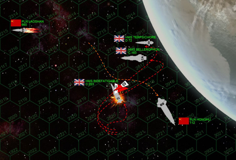 The Panasians seem to be running out of time.  At last the Red Tiger can no longer keep her fantail safe from British broadsides, note that both HMS Bellerphon and Terpsichore are now right across her stern with every gun aboard at the murderously close range of 500 km.  Furthermore, with the Laoshan now crippled, the Red Tiger has no escorts.  However, the British broadside is not executed perfectly.  Note the Indefatigable, out of position and hitting Red Tiger's starboard quarter, not her stern.  This is going to have terrible consequences later.  The British broadside thus falls short of knocking out the Red Tiger, but still costs them the Indefatigable, ravaged by a 60-torpedo spread of Panasian warheads (note the other two British ships are a little too far away to provide effective mass driver defense), while the aft guns of the Red Tiger (including one of her two gigantic 60-kilogram plasma projectors) leave the Indomitable burning and adrift, crippled in space.