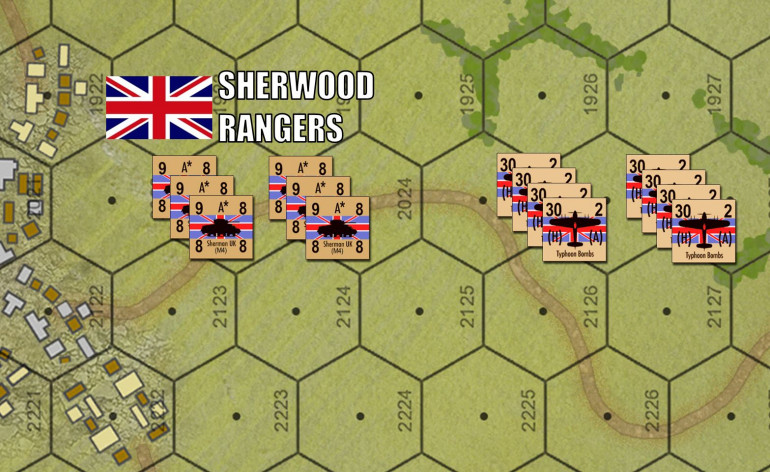 Sounds like a tall order.  Fortunately, support is close behind.  These two squadrons (companies) of the Sherwood Rangers were actually supposed to land at 07:20, five minutes BEFORE the first infantry leapt from the Higgins boats.  Didn't happen, they arrived late, but they will arrive.  Of course we have plenty of air support for the British as well.  I made sure to include an EVEN number of air strike counters so Damon and Brucelea can split them evenly.  No fighting over the Typhoons, please!