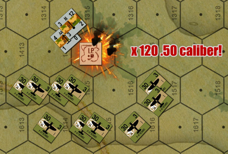 After P-47s drop bombs, they can linger on the board for four turns and make strafing attacks with their guns.  30 = their bomb attack (once), 3 = their MG attack (four times).  These guys are massing for a huge strafing attack on German battalion 8.0cm mortars and a 2.0cm FlaK pit.  Each counter = x2 planes, and each plane carried x6 .50 cal HMGs.  So that's 120 .50 cals coming in hot!  Yeah, those German light artillery positions are toast.