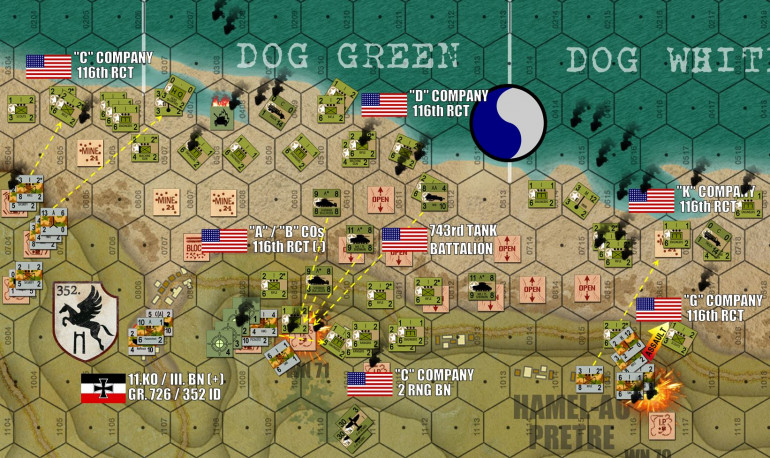 "Dog Green and Dog White beaches at the end of Turn Five, ONE HOUR into the Normandy assault.  They are tightening the noose on WN71, but it's still causing casualties as the Americans struggle up the Vierville bluffs.  The third wave is ashore (""C"" and ""D"" Companies / 116th RCT) but as you see, landings are still chaotic."