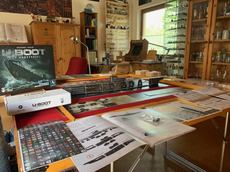Luckily, my wife allows me to set up the home-built game board in the living room.