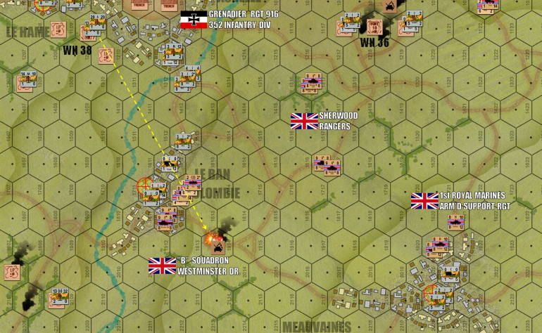 Turn 8:  With more armor on the beach, the British now break deep inland, curling southwest (exactly as was done historically) to push for objective hexes in the German backfield.