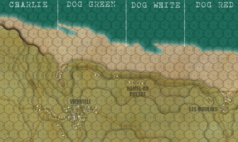A detail of the Dog Green and the Vierville draw, one the bloodiest sectors of Omaha, by far the bloodiest part of D-Day.  This was the setting for Saving Private Ryan, but only a small slice of what we'll be recreating with this game.