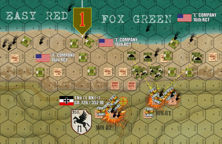 On the opposite end of the beach, the 16th RCT / 1st Infantry Division has really caught a break here.  A volley from the battleship USS Texas has scored some amazing hits and positively EMPTIED Wiederstandnester 62, while a P-47 airstrike and even some tanks have pummeled the Germans in Wiederstandnester 61.  Resistance here is not broken, but it has been very badly weakened through some frankly VERY lucky dice rolls.  Not so lucky are the Americans still struggling shore, being positively liquified by consistent German artillery firing from further inland.  Making the artillery doubly effective is the