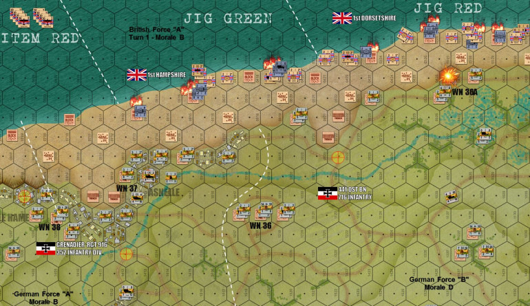 Initial Landings.  Already British losses are horrific to German fire and beach obstacles.