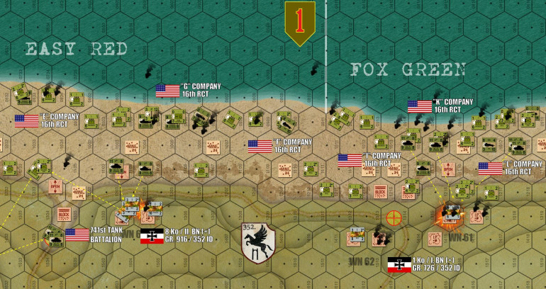 The second major wave (second echelon of life rifle companies) makes it ashore in the 16 RCT / 1st Infantry Division sector to the east.  No gaps have been opened in the beach obstacles yet (every beach landing hex is assumed to have obstacles in it) so every American unit still has to make a survival roll as it lands.  Note at lower left, two Sherman platoons (10 tanks) have snuck through a gap in the shingle opened by dozers to actually take one objective hex.  It's still behind that block, though, I need to get engineers to it to blow it before the draw is considered open and I get the points for the objective (only engineers can blow a block counter, Sherman dozers cannot do this).