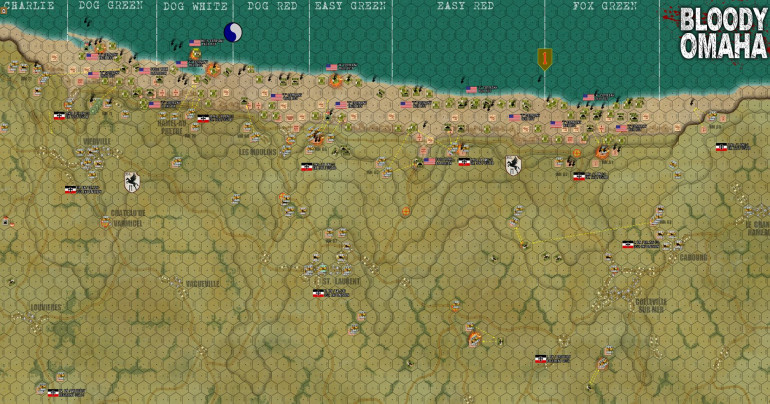 The overall situation at the end of Turn 3 (H-Hour + 36 minutes).  FLASH:  OUTCOME OF INVASION STILL IN DOUBT!