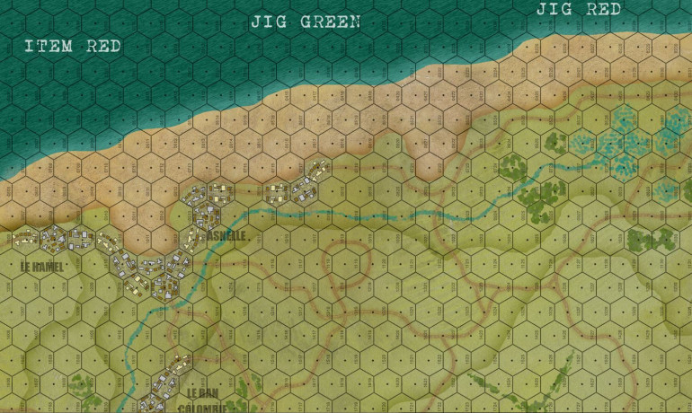 So here is the top third of the map.  Each hex is 150 meters across, and so would fit two 6' Bolt Action tables end-to-end, or one 5' Flames of War table.  We're going to be landing three battalions of infantry here, plus commandos, plus two squadrons of tanks, AVREs, etc. In all, about 2200 men and 30 tanks, plus bulldozers, flails, maybe even a platoon of AVRE Churchills (if we cheat slightly with the strict historical timeline and landing schedule).