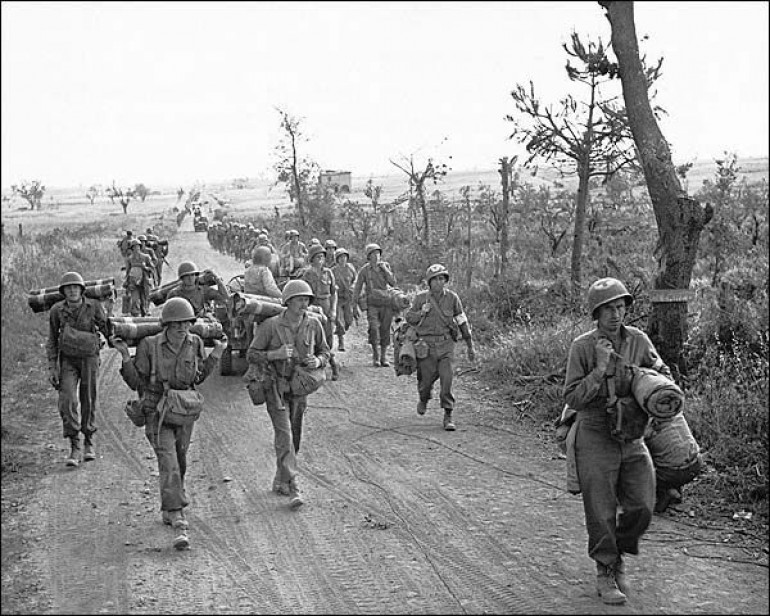 US Infantry advancing following the capture of Cisterna