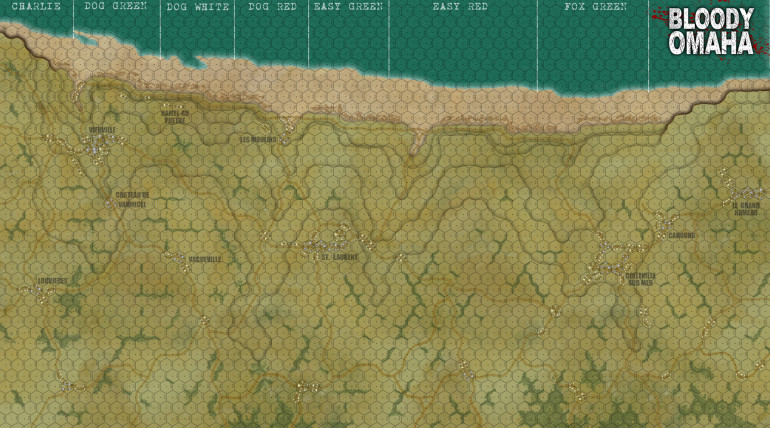 The full map, now with trees, hedgerows, and a beach shingle.