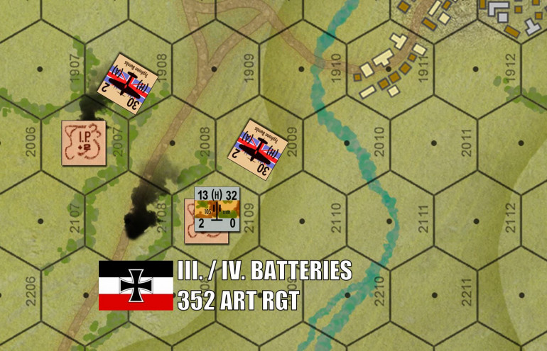 Miles behind the beach, other Typhoons go after 10.5 cm artillery batteries of 352nd Wehrmacht Infantry Division.