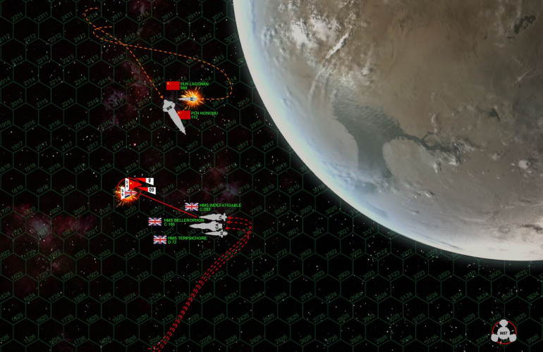 Getting close (in Darkstar terms, the average engagement range in this image is five hexes = 900 km) and here it gets nasty.  British scouts are mowed down by Panasian mass drivers as the scouts try to protect the Terpsichore against the Chinese torpedo spread.  Many Panasian torpedoes are shot down, and those that survive don't do well against the British shields (recently upgraded aboard HMS Terpsichore).  But a few get through, completely smashing out Terpsichore's starboard engine and reactor array.  She'll be at -1/3 thrust for the rest of the game.  Explosive broadsides are traded, damaging the Red Tiger slightly but blowing the Laoshan clean out of the battle (crippled, will later be recovered).  Indomitable is also brutally mauled, especially along the starboard bow by the forward guns of the Red Tiger (gigantic 30 teravolt EPCs, the largest EPCs allowed in the game)