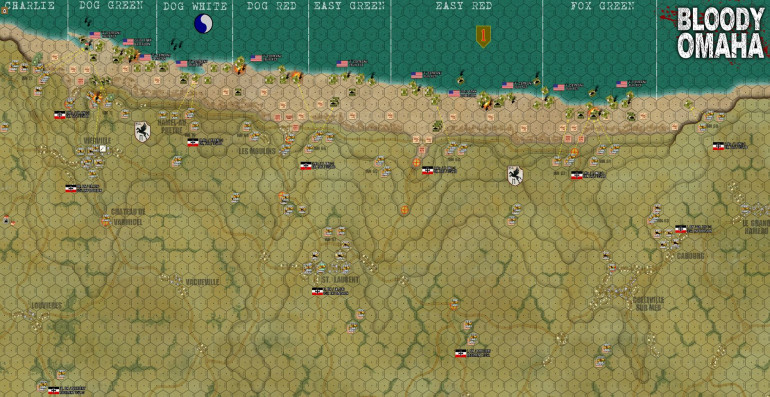 H-Hour +10 minutes.  27 American platoons have been destroyed (marked by black smoke columns) across five miles of assault beach.  So that's over 900 men killed, wounded, or hopelessly scattered.