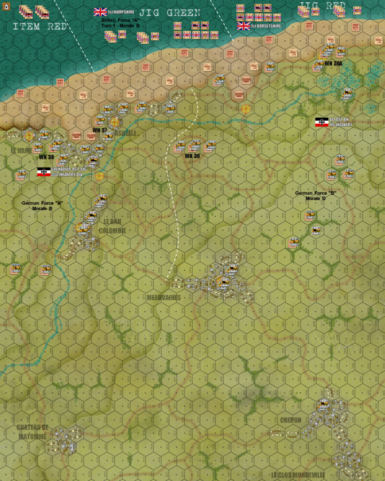 The finalized map.  Now includes unit deployment areas, force labels, and morale levels, and full  German deployment.