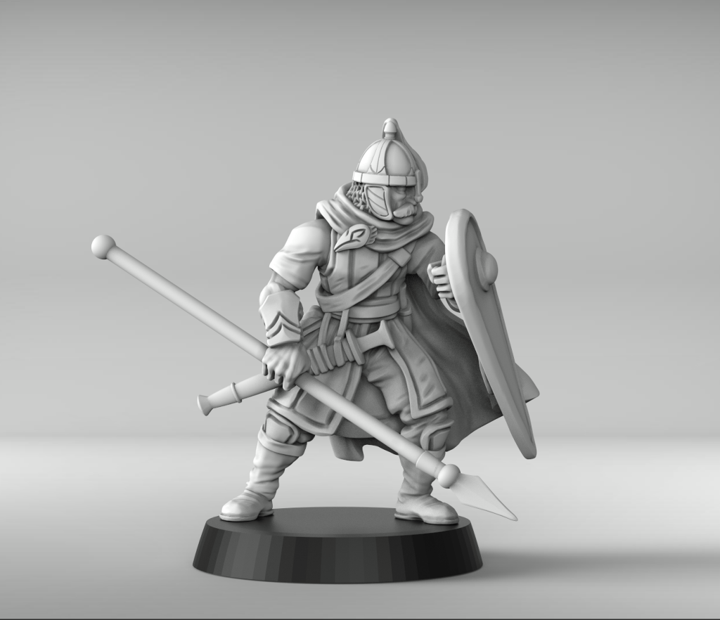 Lone Guard Commander With Spear - Metal King Studio