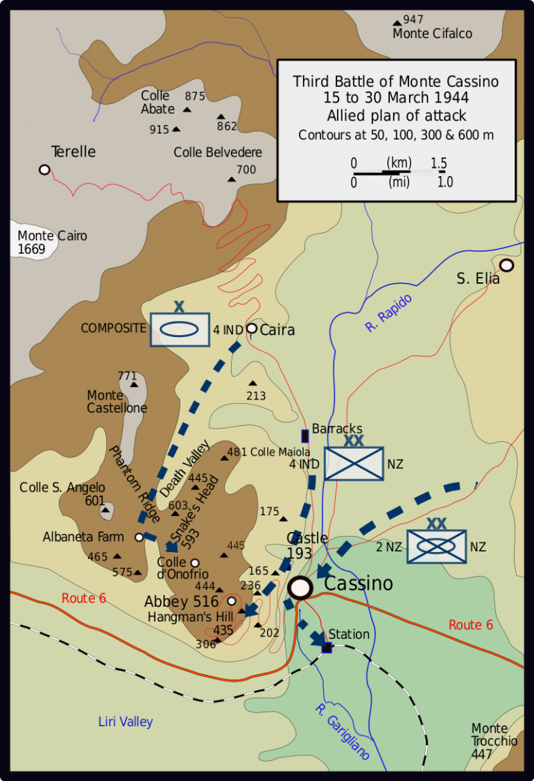 The overall plan of attack. Albaneta Farm can be seen just above Route 6