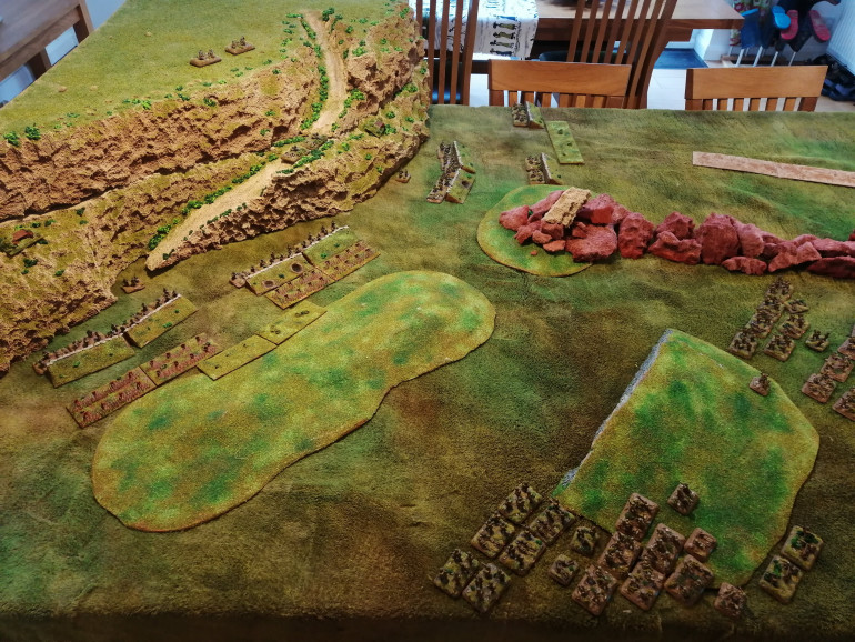 Table set up from the 4th British Indian perspective. 20th Armoured are deployed off picture to the right