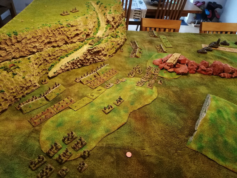 After their third turn move, the Gurkhas and Rajputana Rifles are closing in on the German trenches