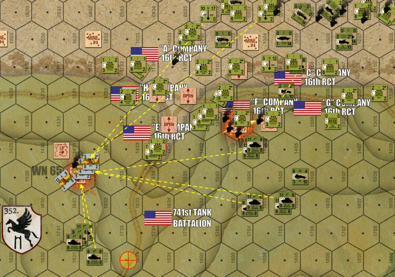 Turn 10 starts out with a frustrating American barrage positively POURING fire into WN 65 at the EASY ONE Draw.  At least the 7.5cm PaK 40s have been taken out, so the American tanks of 741st Tank battalion can come closer in relative safety.  Meanwhile, Fox Company / 2nd Bn / 16th RCT has taken WN 64, along with plenty of engineers support (bangalore torpedoes, flamethrowers, and satchel charges).