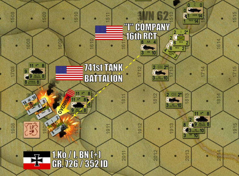 "On the east flank, things are going better for the Americans.  EASY THREE was the first draw to be opened, and Shermans are now two kilometres inland and beginning to take out German support positions.  Two of these counters (each is a platoon of five, so ten tanks in all) rolled up on this German FlaK battery, withstood German fire, and then blasted it to smithereens.  The platoon of garrison troops with the FlaK tried to run, but were pinned down by the quad .50 caliber fire coming off that M16 halftrack to the northeast during opportunity fire.  These pinned troops were then overrun by two other Sherman platoons.  Bute the ""DUKW"" amphibious trucks, American vehicles landed in the later stages of D-Day."