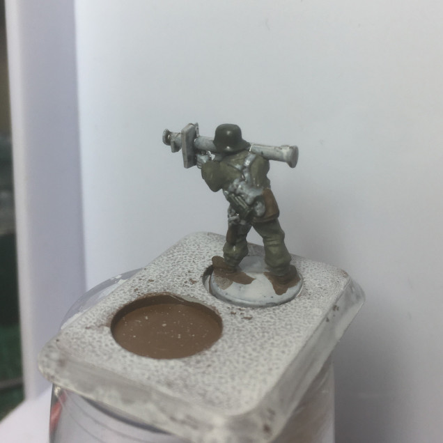 Stage 5. German Camo Dark Green for the helmet and gas mask canister.