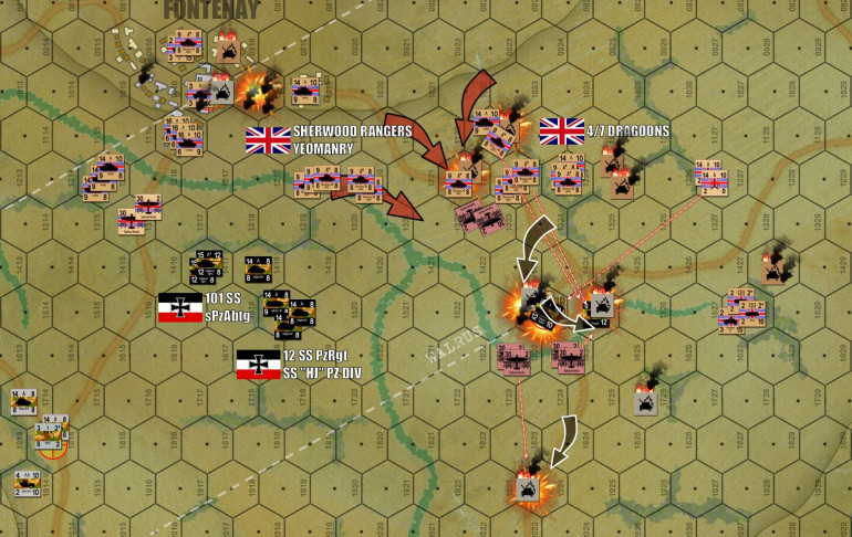 "At last, German resistance ends in Fontenay.  One MORE turn to redeploy, and finally Damon launches a bloody, point-blank assault on SSPzRgt 12 on the east.  My fifteen Panthers fire, actually don't do that well, (only two Sherman platoons eliminated and a third ""dispersed"").  Then it comes time to run.  The problem is, Damon how has close to seventy tanks within a kilometer or so, there are a lot less hiding places for me to bolt to after my ""bushwack"" fire.  One Panther platoon is takes cover in the farm.  I can't put more in there because there's already burning armored cars in there (wreck counters take up ""space"" in a hex, they count as a unit for stacking purposes), and my ATG battery is still in there.  Just to get the ONE Panther platoon in there I have to sacrifice my trucks (transport for the ATGs).  Another Panther platoon tries to run for down the road, but the Typhoons re-enact a classic Normandy moment, throwing rockets into German armor caught on a road in daylight.  Another platoon dies in the stream, where it tried to take hull-down positions.  Only the platoon in the farm survives, and even they are pinned.  They'll eventually escape, put I've still lost two Panther platoons for four troops of Shermans ... not a good trade for the Germans at all."