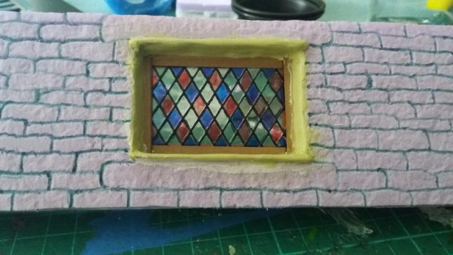 Heres the stained glass leaded window in place