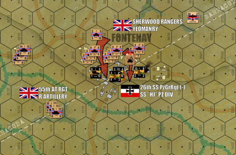 "The battle in the town heats up.  With the Germans dug in ""heavy"" urban hexes (gray buildings = stone, brick, concrete, etc.), they're proving tough to dig out.  One troop of Shermans is already afire."