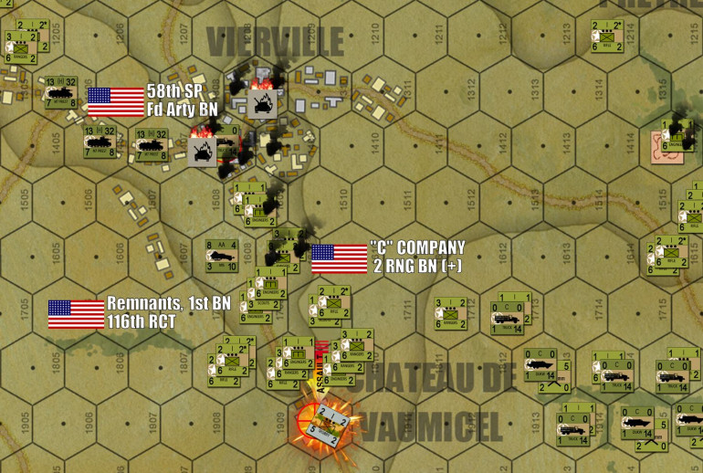 In the west, the Americans follow up the win at Vierville with an infantry powerhouse attack on the next objective, Chateau de Vaumicel.  Other ranger units are already splitting off to secure exit hexes off the west end of the board.  Historically this was the start of an effort to reach fellow Rangers at Pointe du Hoc.