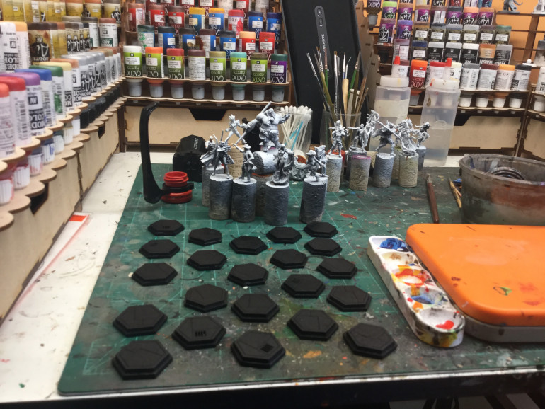 Stage one for the bases: assembled and primed.
