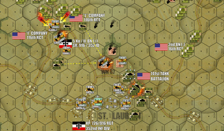 "The town of St. Laurent was more or less the center of the German position on Omaha Beach.  Here we see the forward spearheads off of 116th RCT / 29th Inf Div (3rd Battalion off of Easy Green) and 16th RCT / 1st Inf Div (2nd Battalion off of Easy Red) more or less converging from the northwest and northeast, respectively.  3/116 (Company I and L, specifically) is still engaged in a bit of a scrap against 5. Kompanie / II Bn / 916th Grenadiers along the Les Moulins road, while the 741st Tank Battalion had charged in and taken the first round of fire from desperate German 2.0cm FlaK positions.  Hardly the kind of weapon you need when you're assaulted by 47 Shermans, but it's ""stand or die"" time for the Germans.  The light blue ""CP"" marker is the overall German commander for the battlefield, and his hex is one of the 11 objectives the Americans HAVE to take.  The Germans are definitely being wiped out here, but these are mostly stone and brick buildings here ... and the Americans are on the clock."