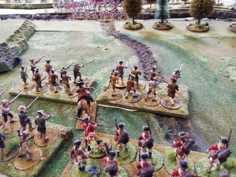 American confusion as the redcoat wearing Connecticut unit turns up at the rear.