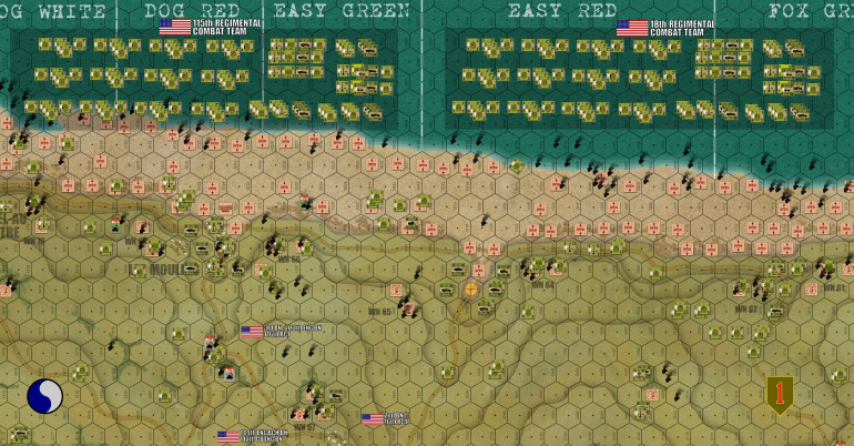 "Turn 19, the second big ""Operational Wave"" starts to come ashore, two ENTIRE NEW Regimental Combat Teams (RCTs).  To the west we have 115th RCT, originally part of 29th Infantry and assigned to come in on 29th's beaches (Dog Green, Dog White, Dog Red, and Easy Green). To the east we have 18th RCT, part of 1st Infantry.  Now historically, the western landings were so bad, the decision was made to change 115th's landing site and put BOTH of these RCTs on East Red and Fox Green, reinforcing the 1st Infantry that was actually making better headway.  But since both divisions are doing pretty well here, I kept with the original plan and landed 115th on the original target.  Hey, it's not every day you get to make a CORPS COMMANDER decision in Panzer Leader.  Oh, and by the way ... Turns 1-19 of this uber-game were the MORNING landings (16th and 116th RCT).  115th and 16th RCT are the MID-DAY landings.  In the afternoon a THIRD wave would land a FIFTH regiment, the 26th (the balance of 1st InfDiv) on Easy Red and Fox Green.  The last part of the 29th InfDiv would not land until the next day (175th Rgt).  So even with this whole second wave, we're only looking at the first two-thirds of what these two divisions would but ashore, and ANOTHER WHOLE DIVISION (2nd Armored – ""Hell on Wheels"") was behind that on June 8th IIRC."