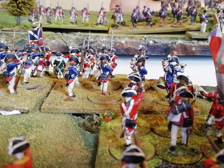 Militia and Red coats fight in the river