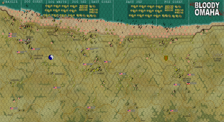 "So here is a full-screen blow up of the whole battlefield at the end of Turn 20.  Open image in new tab to get the full resolution.  Yes, the Americans won, badly.  As in ""imbalanced"" badly.  As in they were definitely more than a little ""OP"" in this scenario.  True, American losses were rough in the first three or four turns.  But I've taken another drive through the numbers, and compared my statistical results with more reliable historical results from the actual US National D-Day Memorial Foundation (spoilers, the casualty rates usually published in most ""credible"" books are waaaay too low).  Higher historical casualty figures, combined with American game losses being lower than first surmised, means that this game delivered an American casualty rate lower than the historical record (not higher as I first said).  So a lower American casualty rate, combined with a much faster rate of success (particularly in the west, the Americans achieved a deeper beachhead in four hours than the historical Americans did all day) means the Americans really ran away with this game once they got off those beaches and up on the bluffs.  Seriously, after Turn 6 or so practically not a single American unit died unless I made a blatant error or units were lost in landing accidents."