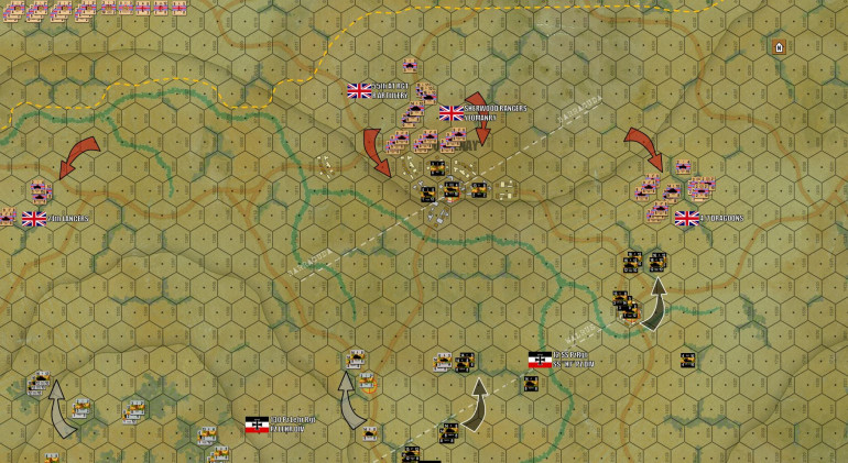 Damon starts his advance south, making contact with an over-stretched, understrength detachment of SS PzGrRgt 26 (really only a platoon of infantry, a battery of 7.5s, and some transport).  Tow supporting British armored battalions (understrength) flank to either side.