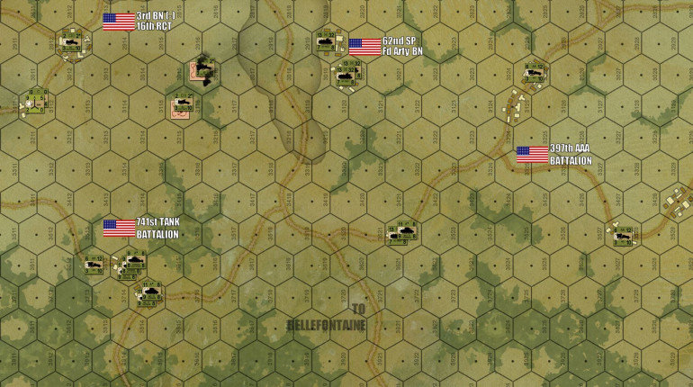 Turn 19: The Americans spread out and occupy every village and road in the southwest corner of the board, totally securing this whole section of the board.  This is at least 2 miles deeper than the Americans historically secured in this sector.