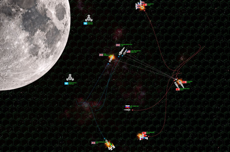 Things get crazy.  Whereas many Darkstar games are borderline Napoleonic with linear fleet tactics and well-ordered task forces keeping tight formation … this one devolves into a dogfight, a brawl, a knife-fight across 5400 kilometers of open space.  The only attempt at order is by Damon, with Bellerophon, Princeton, and Indefatigable managing to cross the stern of IJN Kama and Sendai (white arrows).  This is the fire phase that should have won the British the game, but Damon's dive roll for the broadside of the Bellerophon was literally all misses.  We calculated the odds on camera, we figured a roll THAT bad was at least 60-1 against (10 dice, 60% chance to hit, ALL MISSES).  Indefatigable did a little better but note these hits are hitting the Kama's starboard QUARTER, not the STERN.  Meanwhile, the Sakito has been hammered (forward shields down) and is trying to stay out of harms way, but is being chased down by American and British scout planes.  Princeton's torpedoes are headed for the Urakaze, the Terpsichore is now trying to limp off the board, and the Indefatigable is hammered by the aft batteries of the Kama and Sendai (forward guns broadsiding the Terpsichore).