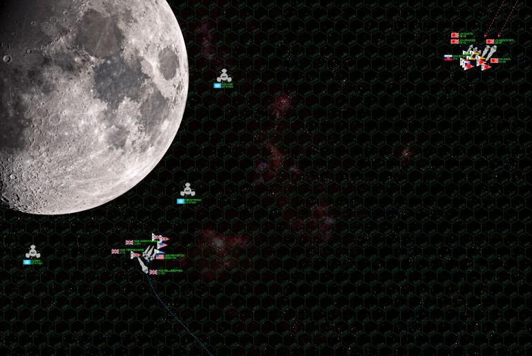 "So here's the initial approach.  In the ""age of sail""  they had the weather gauge or the wind gauge … here in Darkstar you have the ""gravity gauge"" … which Damon seems to have seized right off the bat by cutting a course toward the moon (which is to scale with the hex grid, 180 km per hex – the ships are of course oversized, but they are moving at 3 kilometers per second per hex per turn).  Note that as Rasmus turns to engage, he will have to point his ships TOWARD the moon, never a good thing in this game (bad time to be hit and lose power).  Damon will also be able to pull up away from the moon, using the planet's gravity to help decelerate to acceptable attack speeds once he's made a higher-speed closing approach."