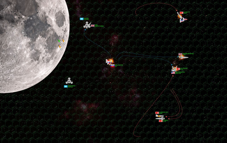 "The Kama and Sendai finally turn straight toward the British (now that the Japanese have more or less passed BENEATH the moon), only to find that the British are my and large BEHIND them.  The Bellerophon is admittedly faster and more nimble than her rival.  However, now ""Billy Ruffian"" and the Kama are exchanging broadsides, a matchup the Kama will win every time (bigger bun battery, more EPCs, bigger gauge, and better shielding on the aft quarters than the Trafalgar class)."