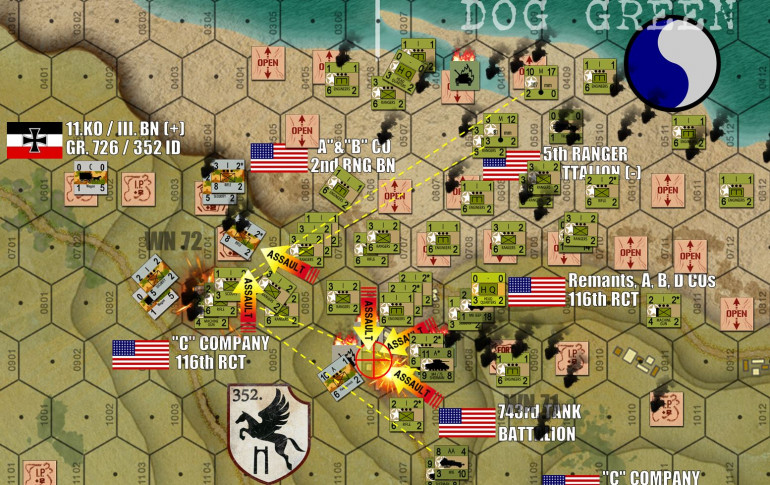 "Turn 10 … and the Americans are done playing around.  The beachbuildings overlooking the DOG ONE draw are assaulted by 80 Rangers, 160 riflemen of 29th Infantry, and 40 engineers, attacking from four directions.  At last the Germans are crushed in this hex, clearing the beach exit behind the concrete block previously blown.  Meanwhile, another 240 American infantry assault part of WN 72.  This assault will be tougher, as the American approach is limited by steep, impassable cliffs rising off of Charlie Beach to the north.  But the assault is precipitated by a heavy barrage of battalion mortars, 4.2-inch chemical mortars, tanks, and two types of AA halftracks.  Meanwhile, note that successive waves of engineers have been rolling to place more and more ""OPEN"" counters on beachside landing hexes.  This is going to drastically reduce the losses incurred amongst successive waves landing on the beachhead."