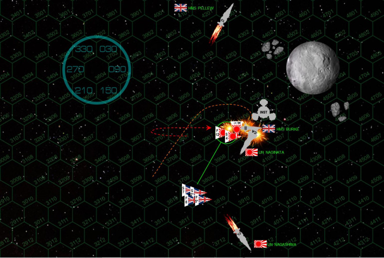 "The game ends on Turn 4 with shocking speed.  The Naginata loses initiative against the Burke (despite Ozawa's experience, her ship is also almost four times the mass of the Burke, destroyers are just more maneuverable than heavy cruisers).  She tries to keep her vulnerable stern away from the Burke, but the Burke comes hard about and makes a suicidal dive right at the Naginata, winding up in the same hex as the Japanese behemoth, cutting across her stern at less than 50 kilometers (ridiculously close in Darkstar).  Burke puts a hail of fire point-blank into Naginata's stern, and all guns hit DESPITE Naginata's upgraded shielding.  The two syglex emitters do the worse damage (x-ray ""lasers""), enough to shut down Naginata's engines and leave her adrift.  Naginata's last aft barrage doesn't do enough damage to knock out the Burke, believe it or not (I've never hit Burke on her starboard bow yet) .... but the fighters of the Nagashima finish the job with a strafing attack intro the Burke's engines that leave her adrift as well.  Incredibly, this game is a draw.  Technically I have the edge in remaining fighter craft, but not enough to win by the required 5% of the starting build-point cost to actually claim a ""campaign victory.""  (495 point battle, I have to win by at least 25, right now I'm ""winning"" by just 9)."