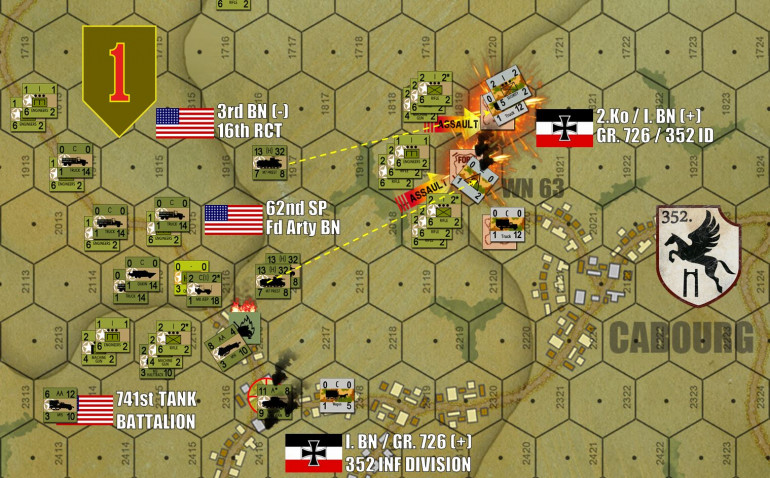 "Still on Turn 14, on the far eastern edge of the board, the end for Wiederstandnester 63.  It takes self-propelled artillery a little bit of time to get into position (62nd Self-Propelled Field Artillery Battalion, attached to 16/1st InfDiv), but once they do they are a virtual blowtorch burning holes wherever they can reach (and they can reach a loooong way).   Meanwhile, the heroic ""Opa"" company in the northern outskirts of Colleville have been overwhelmed.  That Sherman platoon at lower left moves in to occupy that objective town hex."