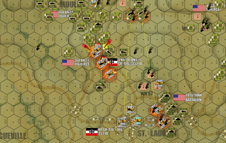 "As the Les Moulins Road is cleared, and the Shermans of 741st Tank Battalion shatter the right wing of the St. Laurent position, the Germans here seem more or less doomed.  But the Americans get a little cocky with their 7th wave artillery, and even as they're being destroyed, German FlaK batteries manage to pick off two batteries of American 75mm howizters as they're dragged into position by soft-skinned ""DUKW"" amphibious trucks.  That's four more American platoons added to an already shocking casualty count (even higher than the historical battle actually).  The Germans may be going down, but they are going down swinging."