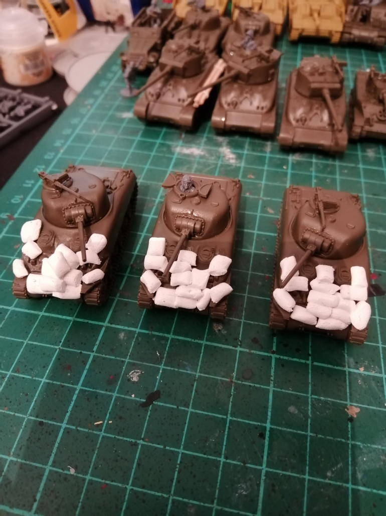 Shermans with sandbags