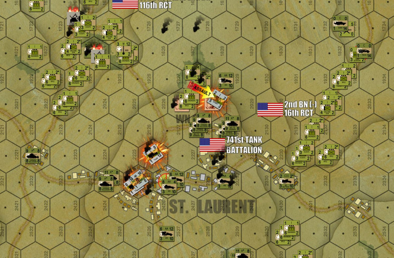 Turn 16:  As expected, the badly-damaged German center collapses almost immediately.  The St. Laurent Objective Hex is taken, joining the Les Moulins/Dog Three draw on the left flank of 116/29th InfDiv with the right flank of 16/1st InfDiv coming down the Easy Three draw.