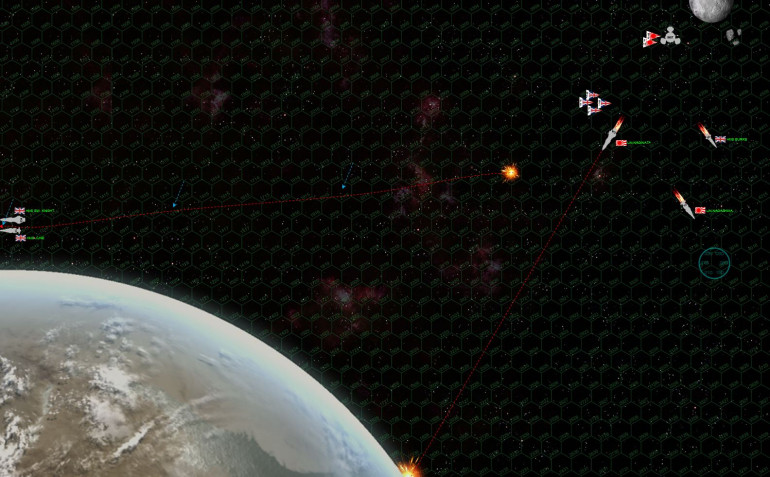 So here's a zoom out as the battle ends. Crippled ships aren't just taken off the table, they continue to drift at their last facing and speed, subject to collision with astrophysical objects and gravity.  This is what happens with the HMS Swedish Knight and HMS June.  Not only do they drift at 8 hexes a turn, but once they end each turn's movement within 10 hexes of the planet, the drift one hex toward the planet as well.  The blue arrows show their positions at the end of each turn, where they are pulled steadily toward the planet.  Fortunately, they are also moving fast enough to where they get off the left side of the map before they hit the planet.  It's a near miss, but they're safe.  The same cannot be said of the Naginata, which I didn't notice was pointing right toward the planet as she was crippled.  A few turns later (she was moving at 5), she will collide.  Luckily the crew has enough time to abandon ship, taking the flag, log book, and ship's bell with them. GREAT GAME!